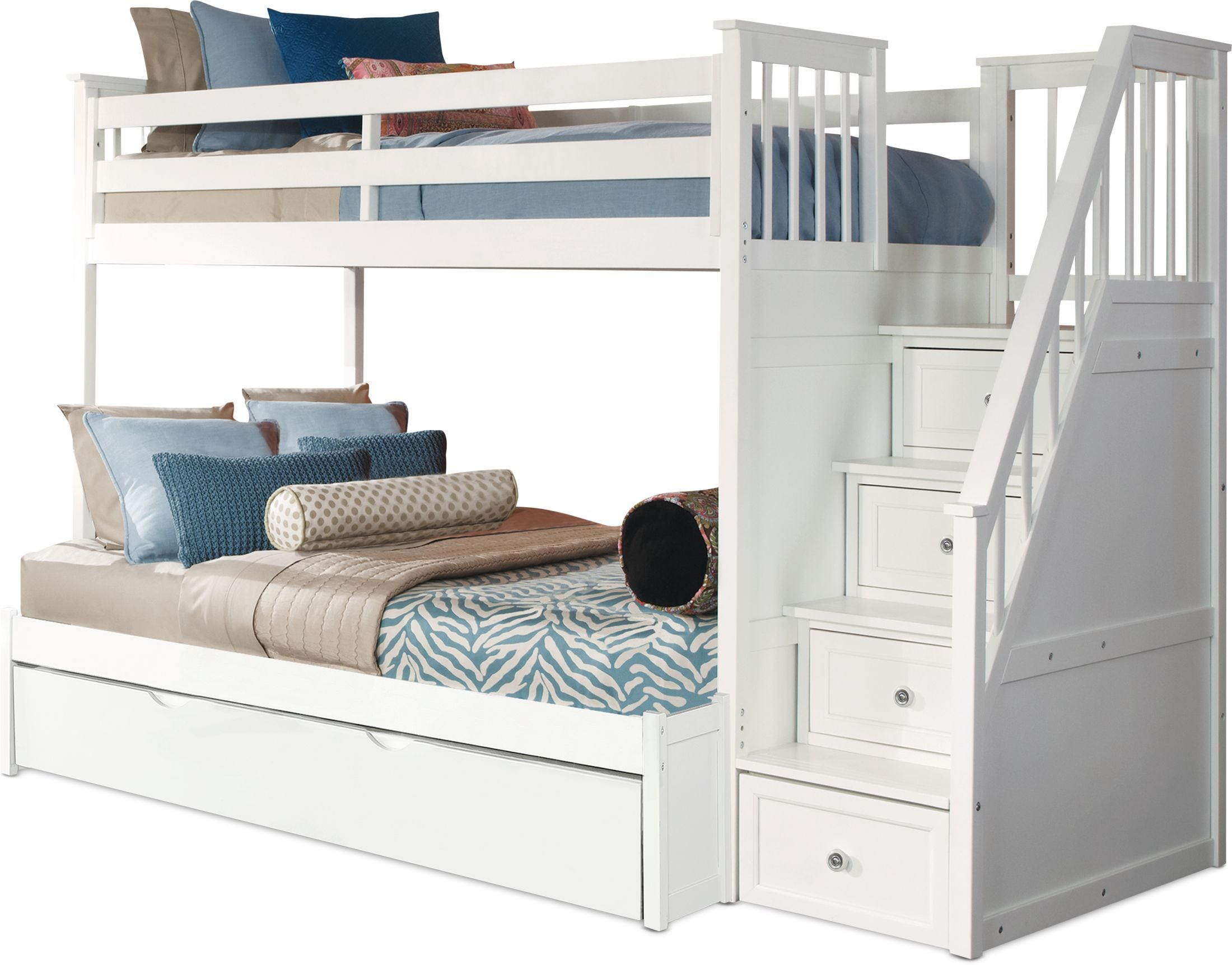 Flynn Trundle Bunk Bed With Storage Stairs American Signature Furniture