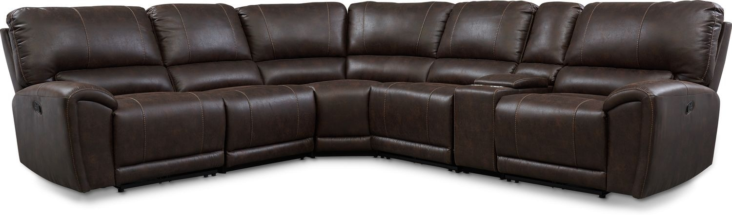 Living Room Furniture - Gallant 6-Piece Manual Reclining Sectional with 3 Reclining Seats