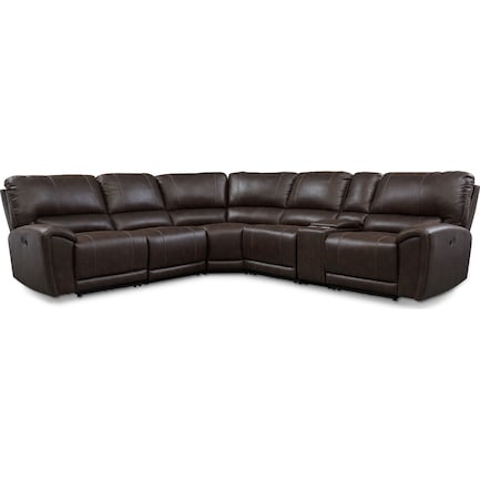 Gallant 6-Piece Manual Reclining Sectional with 3 Reclining Seats - Chocolate