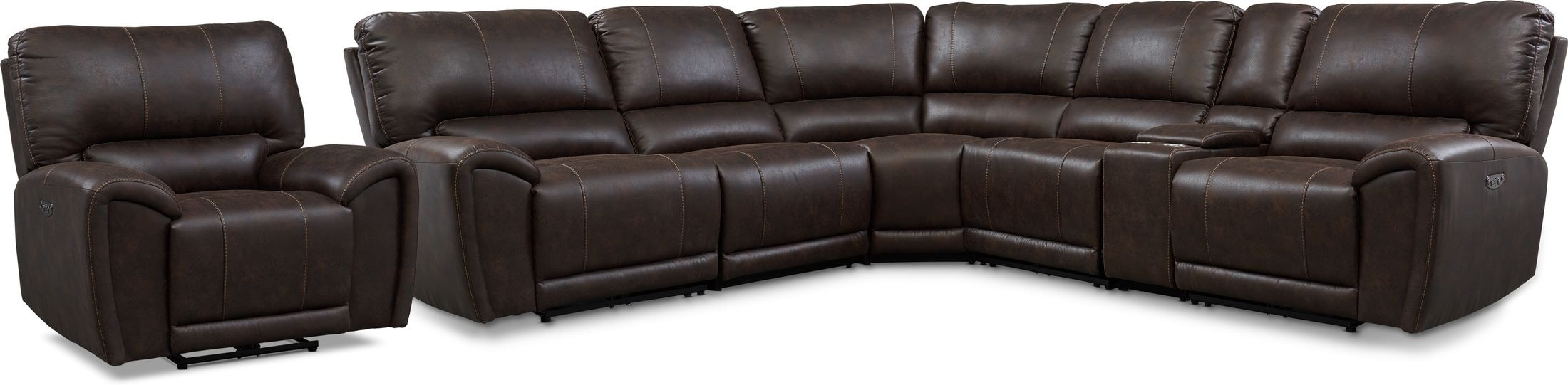 Living Room Furniture - Gallant 6-Piece Dual-Power Reclining Sectional and Recliner Set