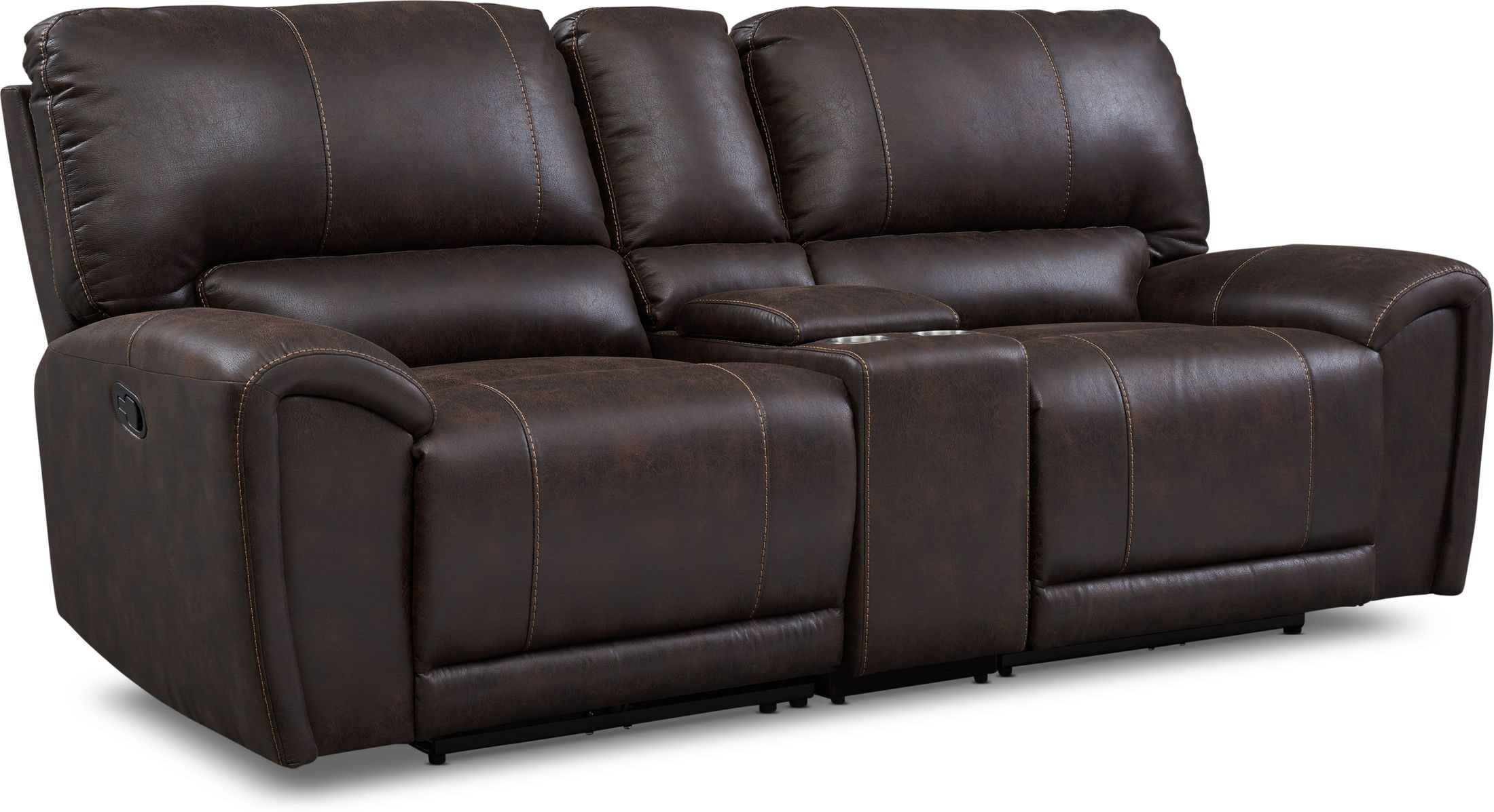 Living Room Furniture - Gallant 3-Piece Manual Reclining Sofa with Console