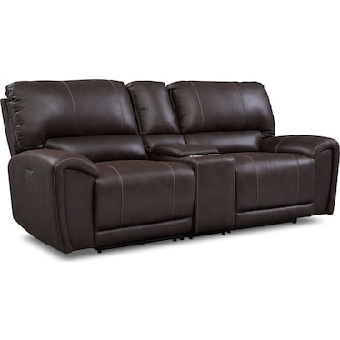 Gallant 3-Piece Dual-Power Reclining Sofa with Console - Chocolate