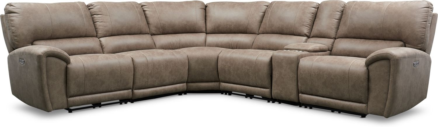 Living Room Furniture - Gallant 6-Piece Dual-Power Reclining Sectional with 3 Reclining Seats