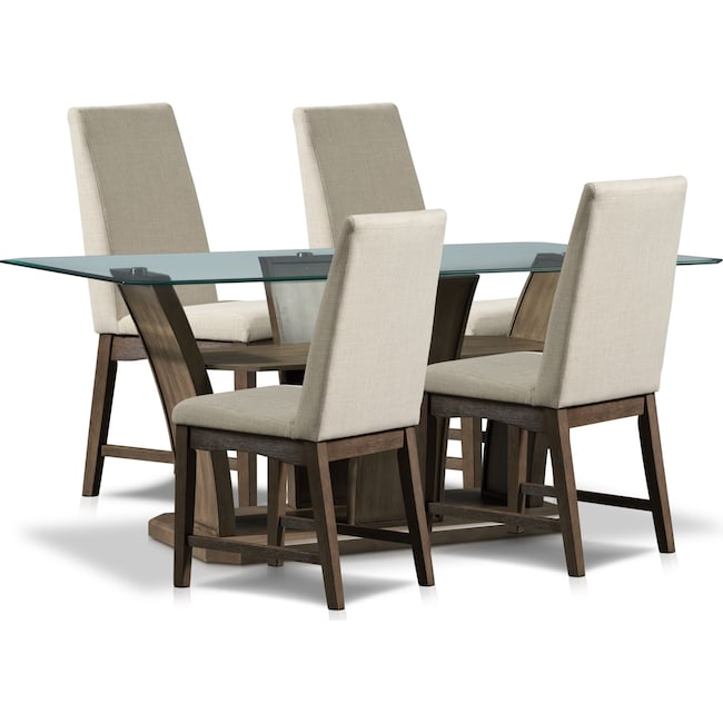 Dining Room Furniture - Gemini Dining Table and 4 Dining Chairs