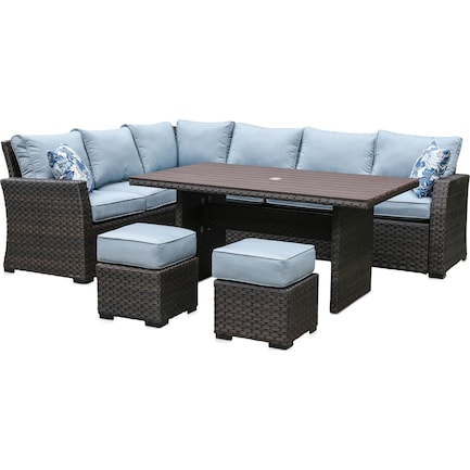 Geneva Outdoor Dining Table, Sectional and 2 Ottomans