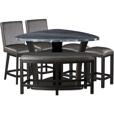 Gibson Marble Dining Table, 2 Backless Stools, 2 Swivel Stools and 1 Curve Bench