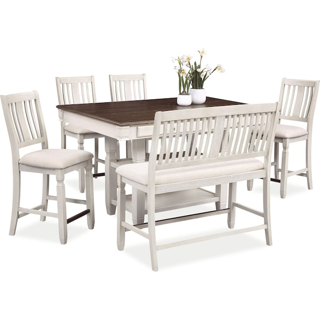 Dining Room Furniture - Glendale Kitchen Island, 4 Stools and Bench