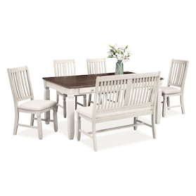 Glendale Dining Table, 4 Chairs and Bench