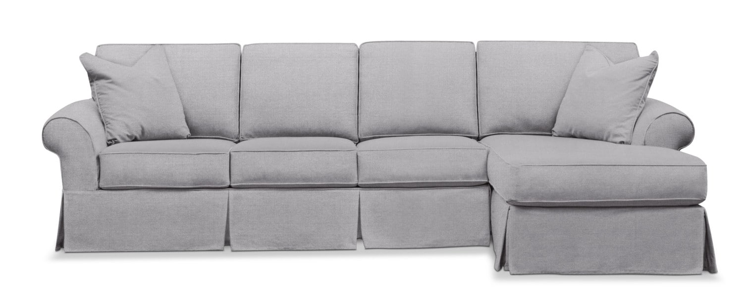 Living Room Furniture - Sawyer 2-Piece Slipcover Sectional with Left-Facing Sofa and Right-Facing Chaise - Gray