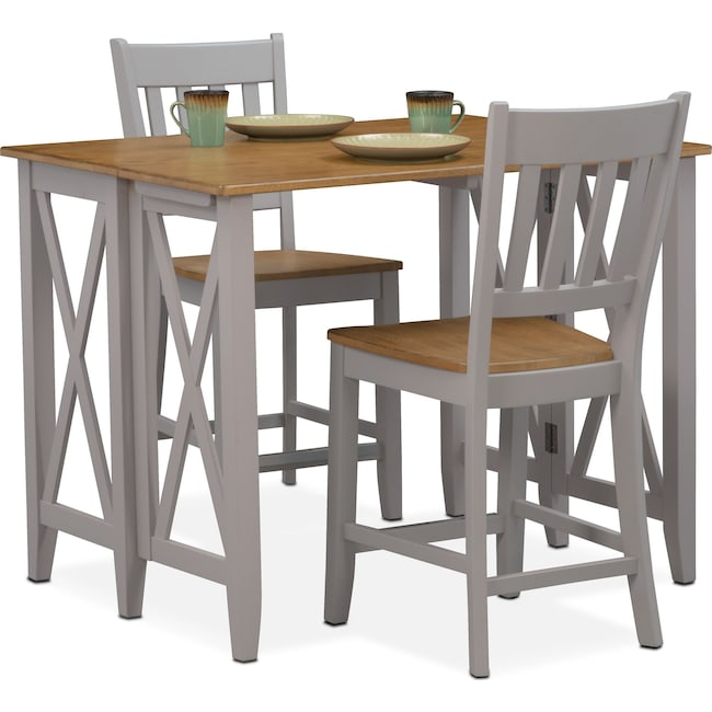 Dining Room Furniture - Nantucket Breakfast Bar and 2 Counter-Height Slat-Back Chairs
