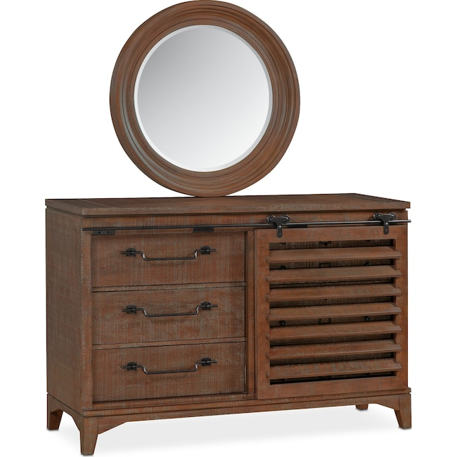 Bedroom Furniture - Gristmill Dresser and Mirror - Cocoa