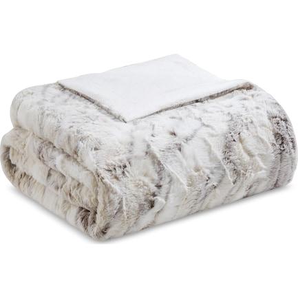 Hadley Faux Fur Throw - Beige