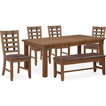Hampton Dining Table 4 Side Chairs And Storage Bench American Signature Furniture