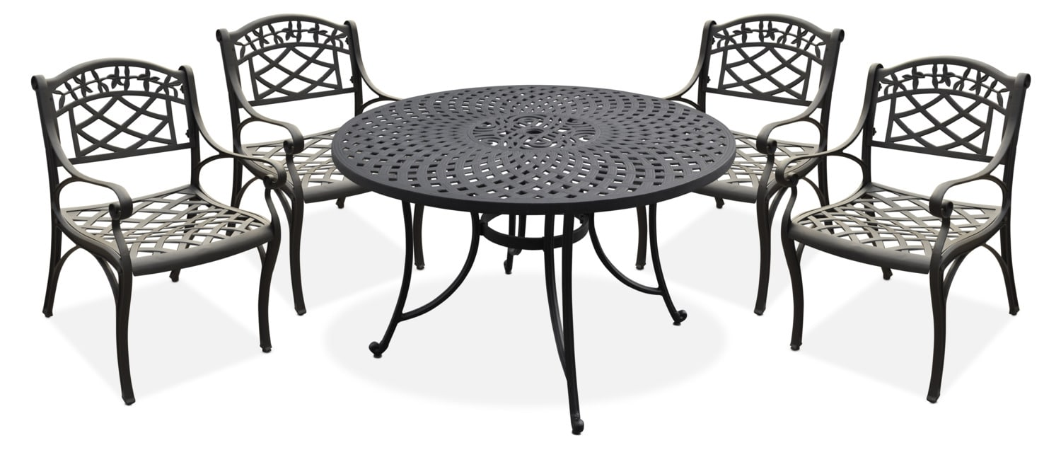 "Outdoor Furniture - Hana Outdoor 46"" Dining Table and 4 Arm Chairs"