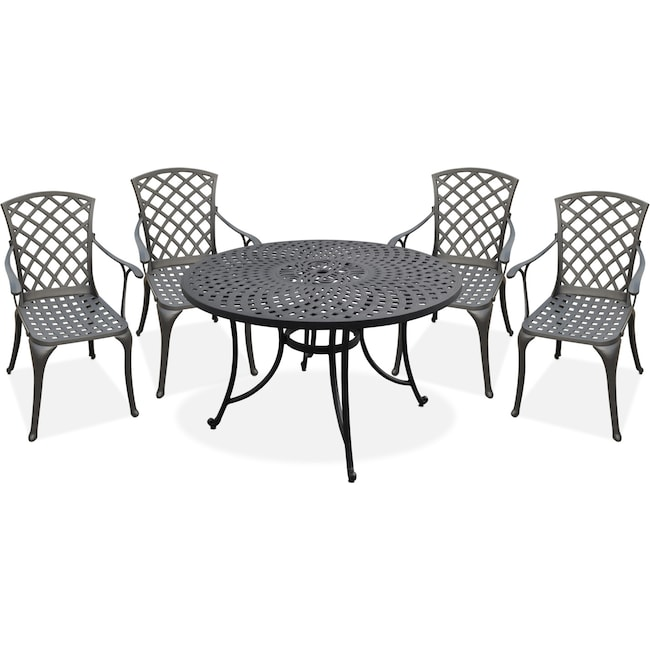 "Outdoor Furniture - Hana Outdoor 46"" Dining Table and 4 High-Back Arm Chairs"