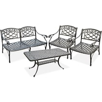 hana outdoor black outdoor loveseat set