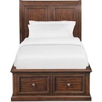 hanover youth cherry dark brown full bed w storage
