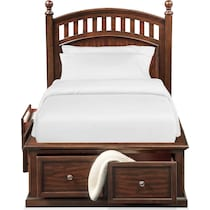 hanover youth cherry dark brown full bed w storage