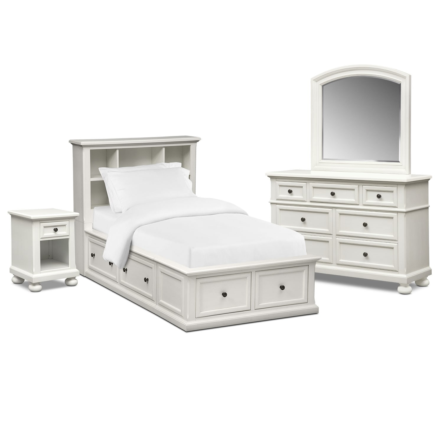 Bedroom Furniture - Hanover Youth 6-Piece Bookcase Storage Bedroom Set with Nightstand, Dresser and Mirror