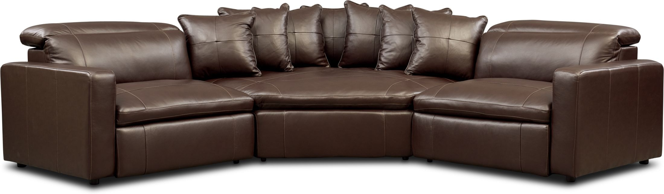 Living Room Furniture - Happy 3-Piece Dual-Power Reclining Sectional with 2 Reclining Seats and Cuddler