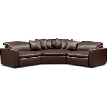 Happy 3-Piece Dual-Power Reclining Sectional with 2 Reclining Seats and Cuddler - Brown