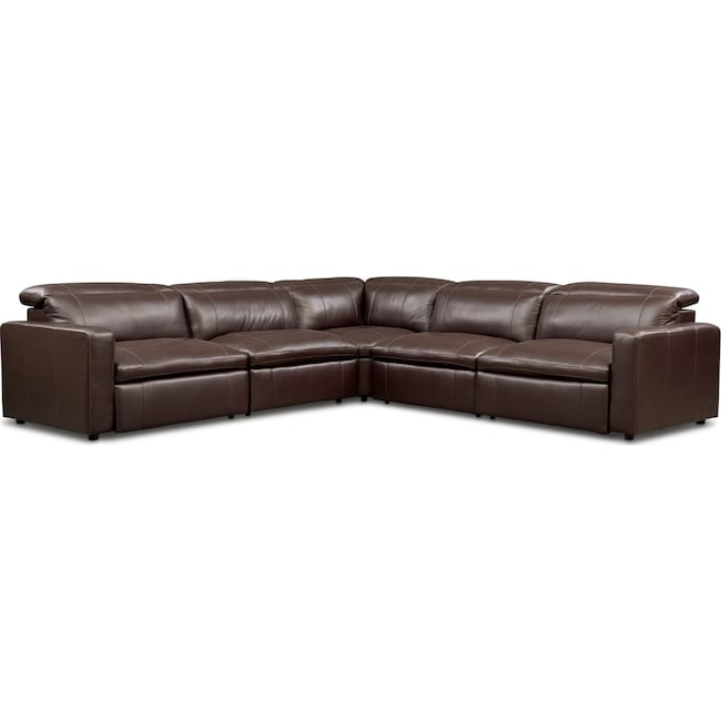 Living Room Furniture - Happy 5-Piece Dual-Power Reclining Sectional with 3 Reclining Seats