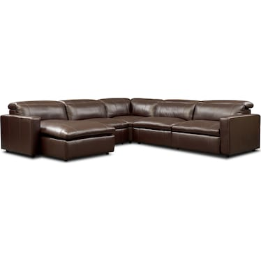 Happy 5-Piece Dual-Power Reclining Sectional with Left-Facing Chaise and 2 Reclining Seats - Brown