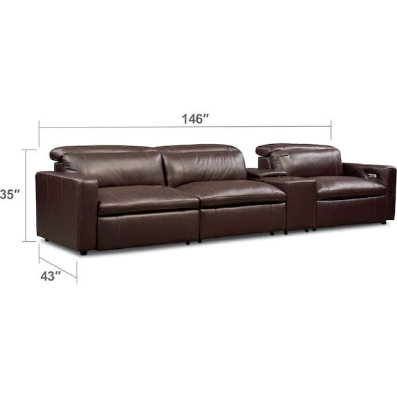 Living Room Furniture - Happy 4-Piece Dual-Power Reclining Sofa with Console