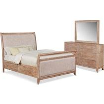 hazel light brown  pc king storage bedroom