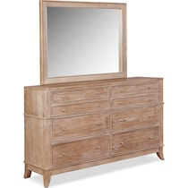 hazel light brown dresser & mirror