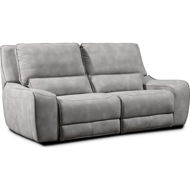 Living Room Furniture - Holden 2-Piece Dual-Power Reclining Sofa - Stone