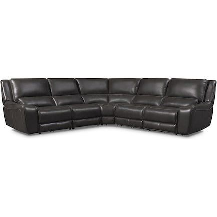 Holden 5-Piece Dual-Power Reclining Sectional with 3 Reclining Seats - Gray