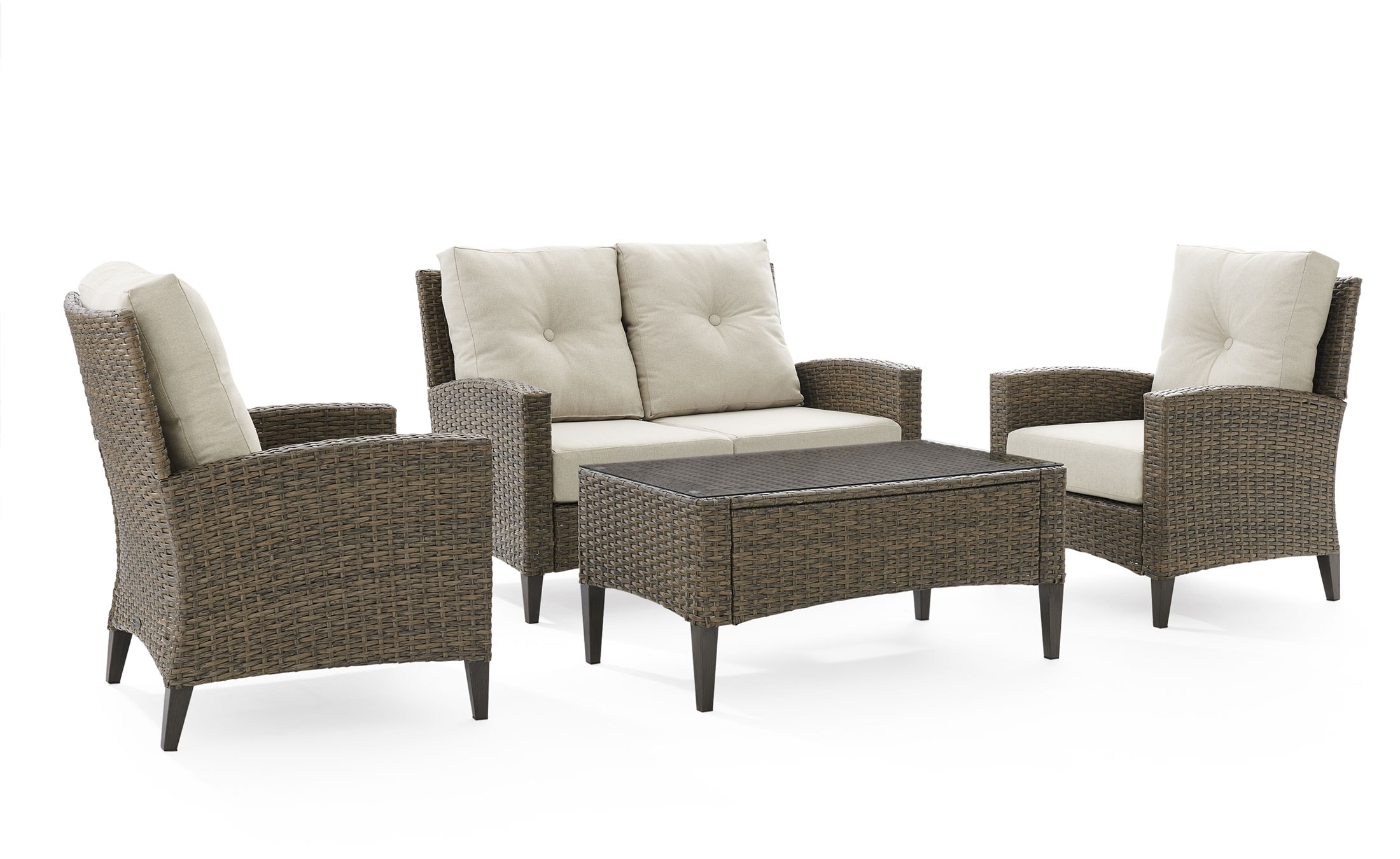 Outdoor Furniture - Huron Outdoor Loveseat, Set of 2 Chairs and Coffee Table