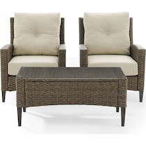 huron light brown outdoor chair set