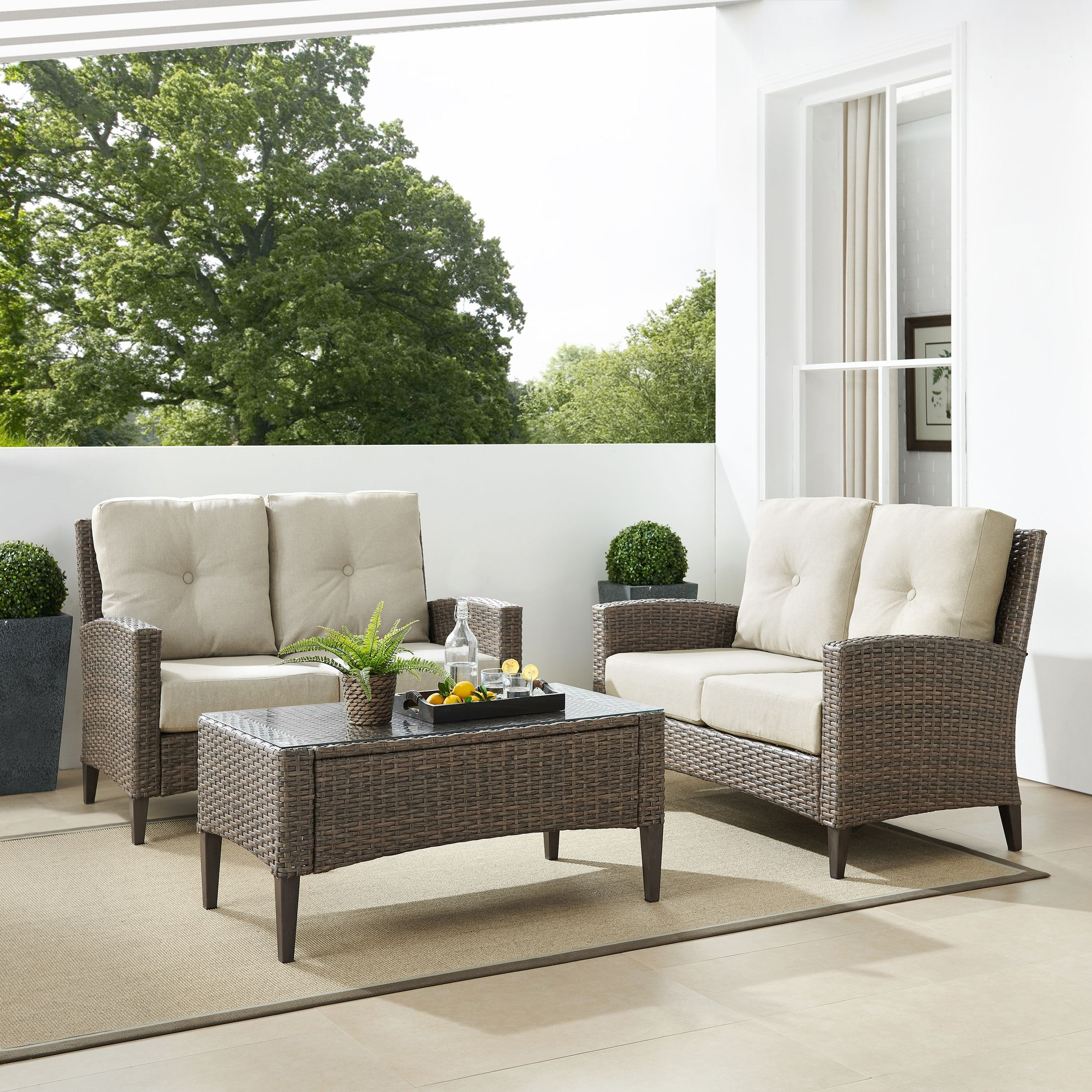 Outdoor Furniture - Huron Set of 2 Outdoor Loveseats and Coffee Table