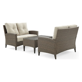 Huron Set of 2 Outdoor Loveseats and Coffee Table