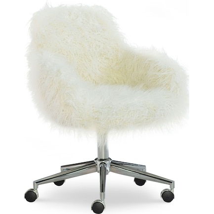 Iona Faux Fur Office Chair - White