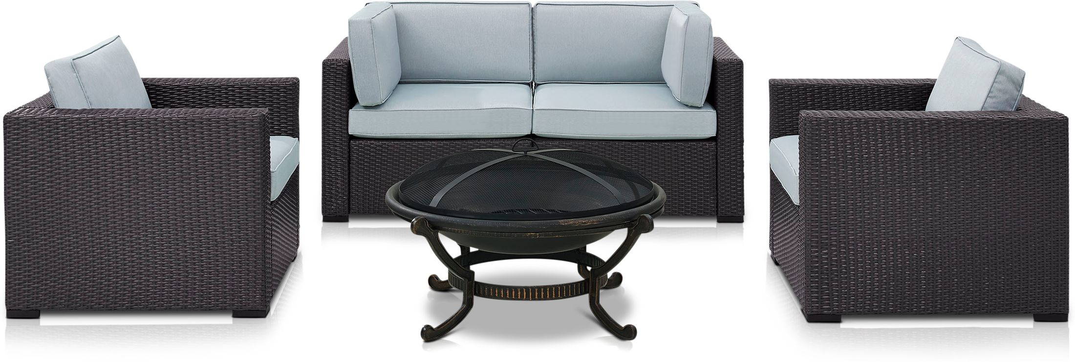 Outdoor Furniture - Isla Outdoor Loveseat, 2 Chairs and Fire Pit