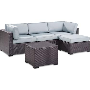 Isla 2-Piece Outdoor Sofa, Ottoman, and Coffee Table Set - Mist
