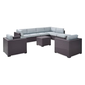 Isla 3-Piece Outdoor Sectional, 2 Armchairs, Coffee Table, and Ottoman Set
