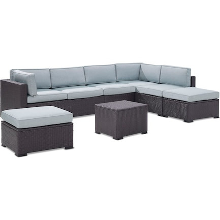 Isla 3-Piece Outdoor Sectional, Coffee Table, and 2 Ottomans - Mist