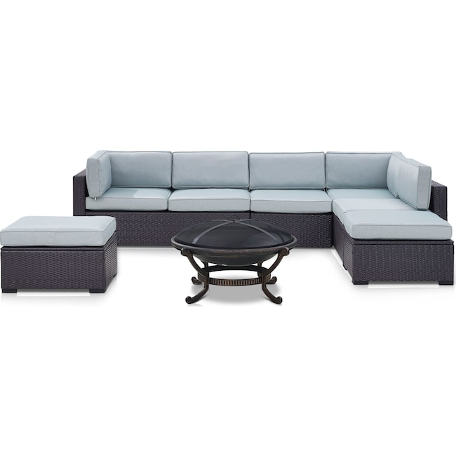 Outdoor Furniture - Isla 3-Piece Outdoor Sectional, Fire Pit and 2 Ottomans Set