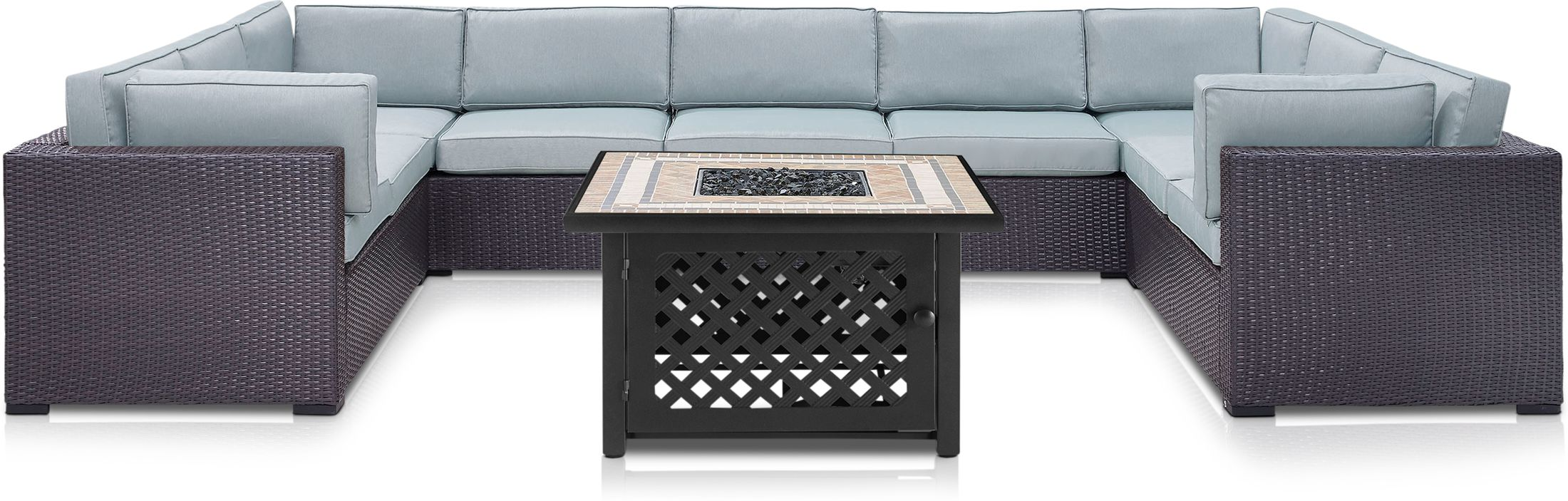 Outdoor Furniture - Isla 5-Piece Outdoor Sectional and Fire Table Set