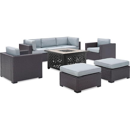 Isla 2-Piece Outdoor Sofa, 2 Armchairs, 2 Ottomans, and Fire Table - Mist