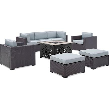 Isla 2-Piece Outdoor Sofa, 2 Armchairs, 2 Ottomans, and Fire Table - Mist
