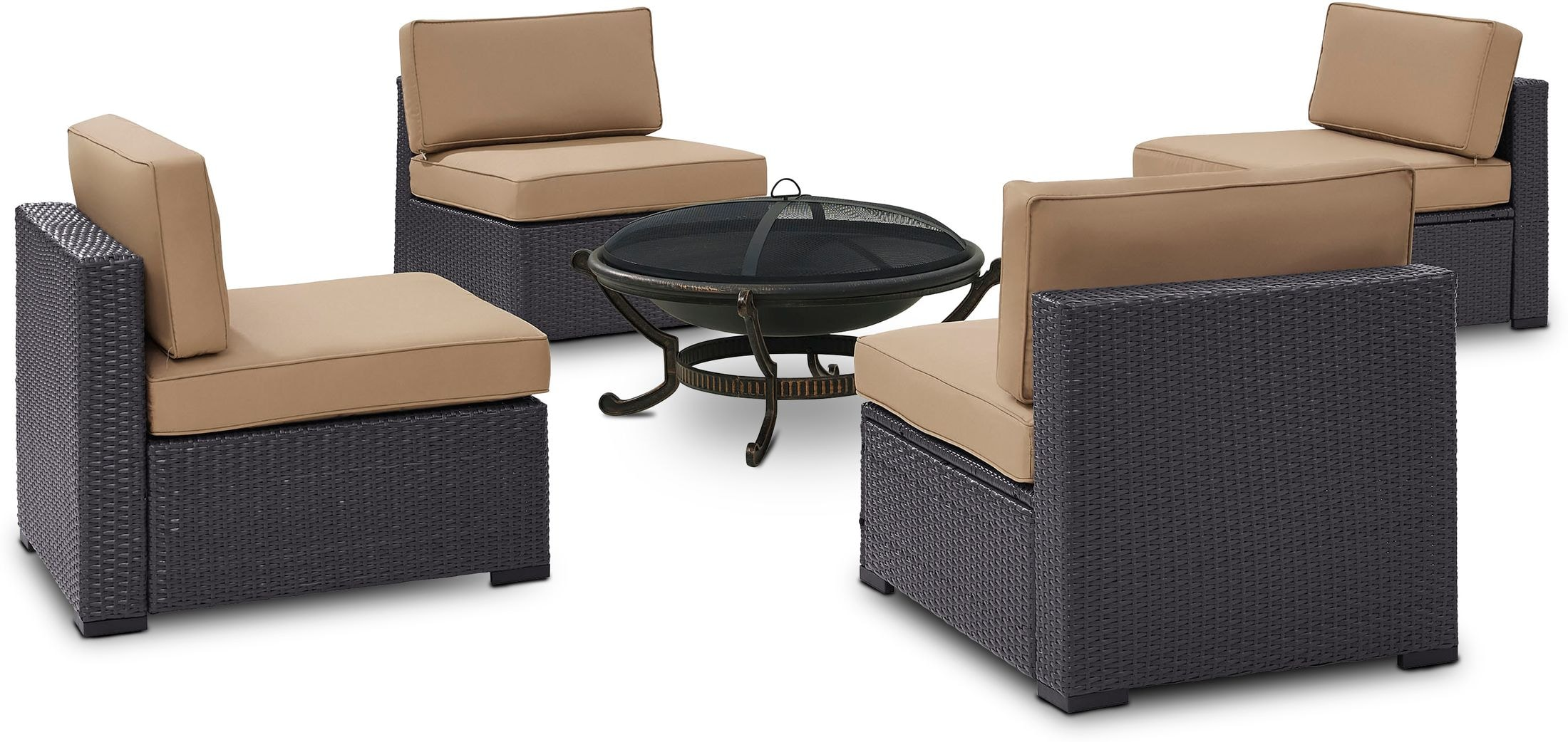 Outdoor Furniture - Isla Set of 4 Outdoor Armless Chairs and Fire Pit
