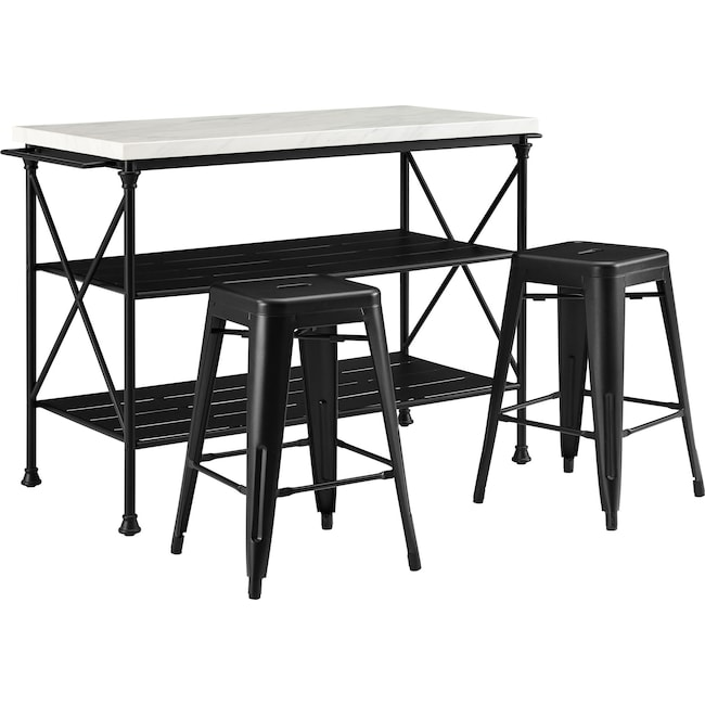 Dining Room Furniture - Izzy Kitchen Island and Set of 2 Stools