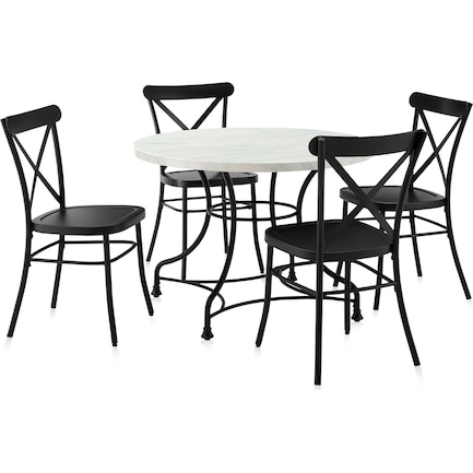"""Izzy 40"""" Table and 4 Lex Chairs"""