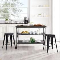 izzy black kitchen island set