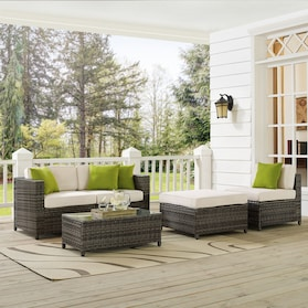 Lakeside 2-Piece Outdoor Loveseat, Armless Chair, Ottoman, and Coffee Table Set
